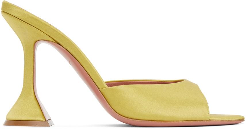 Yellow Satin Caroline Heeled Sandals by Amina Muaddi, available on ssense.com Kylie Jenner Shoes Exact Product