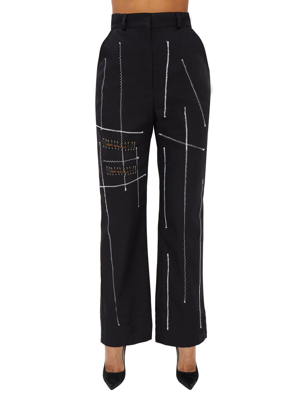 ZIG ZAG WIDE TROUSERS by Danielle Guizio, available on danielleguiziony.com for $410 Kylie Jenner Pants SIMILAR PRODUCT