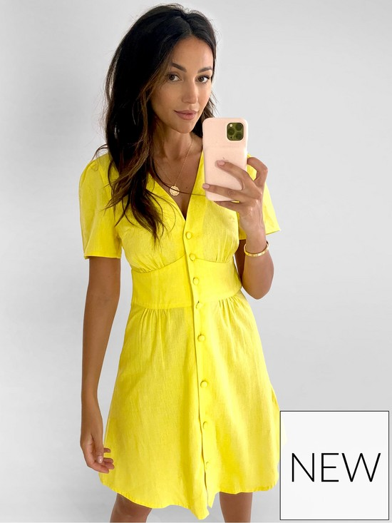 Angel Sleeve Linen Mini Dress - Yellow by Michelle-Keegan, available on very.co.uk for EUR30 Michelle Keegan Dress Exact Product