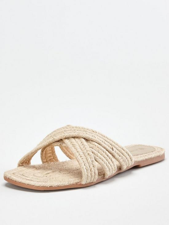 Harris Raffia Flat Slider - Natural by Very, available on very.co.uk for EUR22 Michelle Keegan Shoes Exact Product