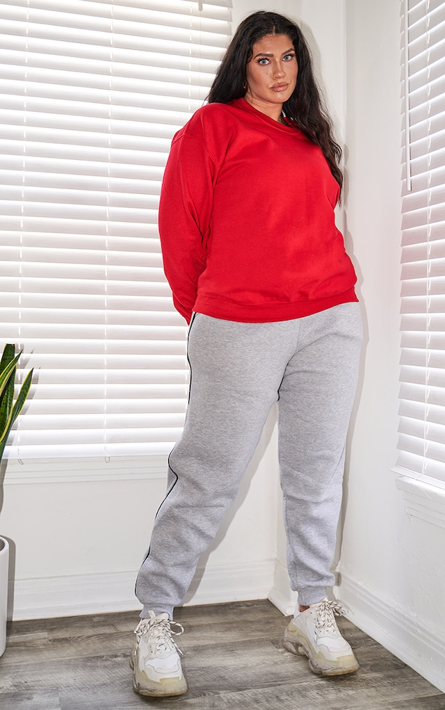 PRETTYLITTLETHING Plus Grey Contrast Piping... by Pretty Little Thing, available on prettylittlething.com for $19 Mila Kunis Pants SIMILAR PRODUCT