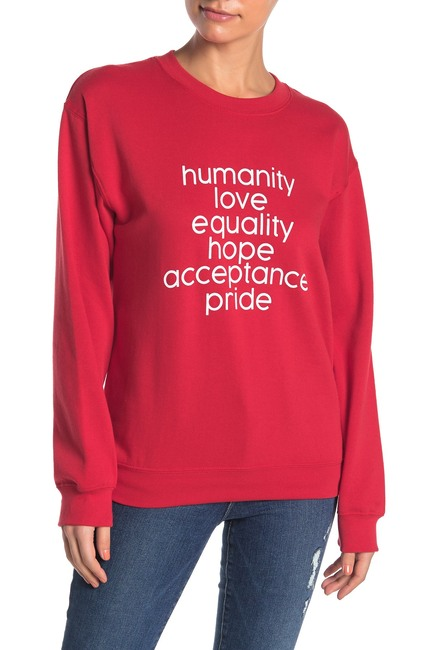 Pride List Crew Neck Sweatshirt by Sub_Urban Riot, available on nordstromrack.com for $10.79 Mila Kunis Top Exact Product