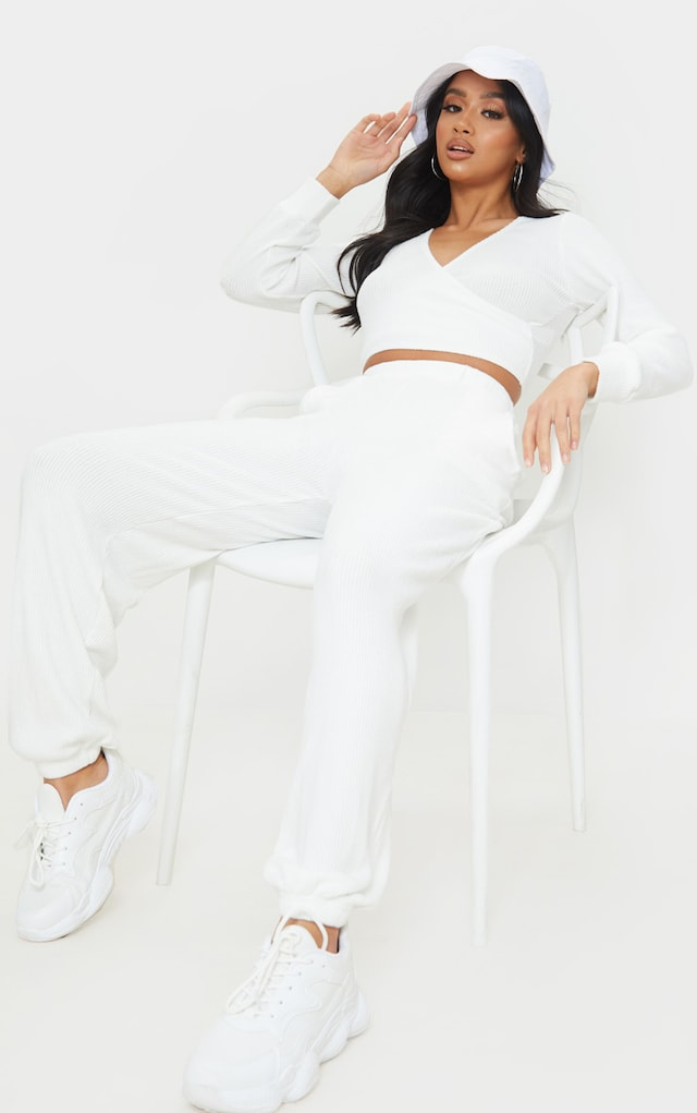 Petite Cream Brushed Rib Joggers by Pretty Little Thing, available on prettylittlething.com for $16 Naomi Campbell Pants SIMILAR PRODUCT