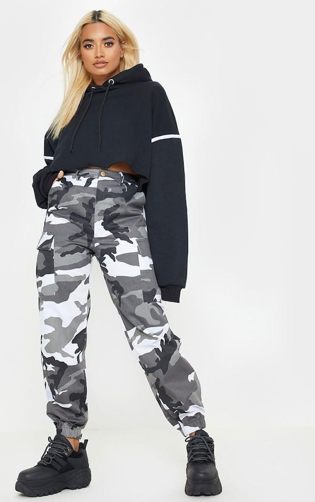 Petite Grey Camo Printed Cargo Trousers by Pretty Little Thing, available on prettylittlething.com for £25 Naomi Campbell Pants SIMILAR PRODUCT
