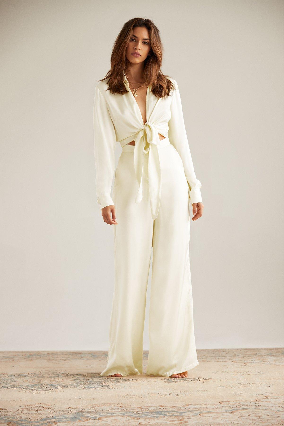 Bella Satin Pant in Ecru by Andjela, available on andjelacollection.com for $178 Natasha Oakley Pants Exact Product