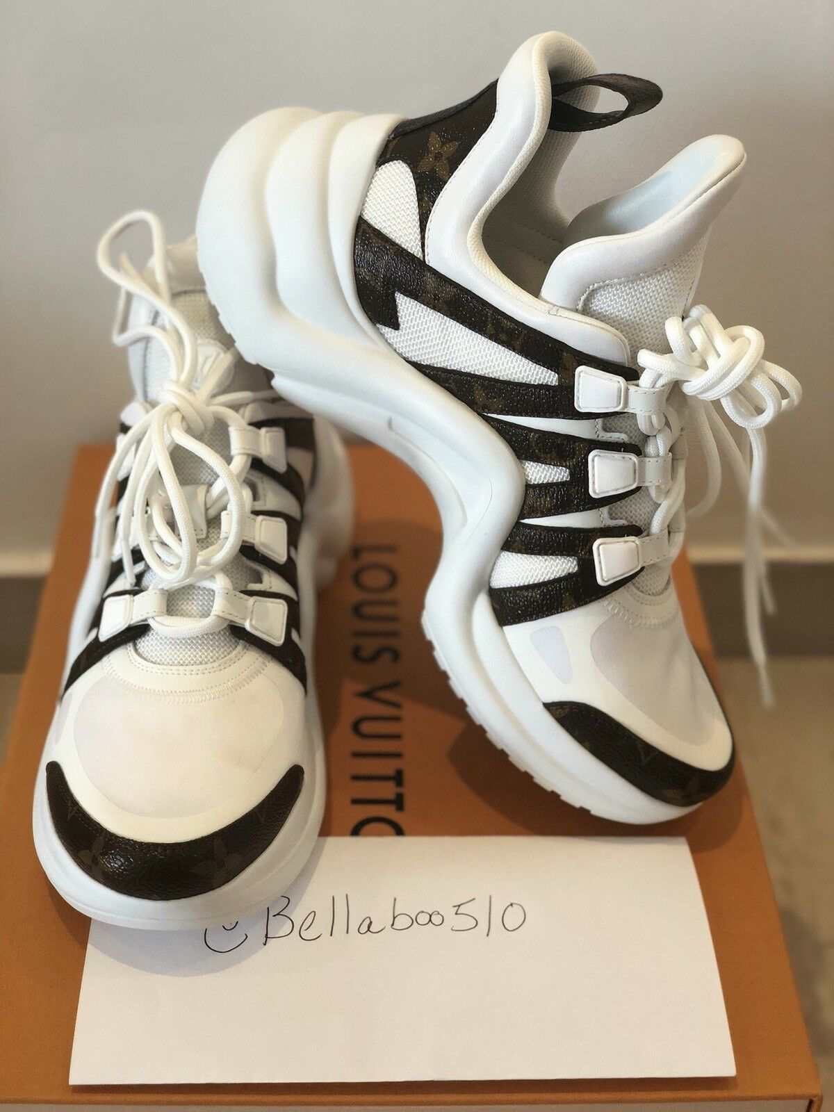 NIB Louis Vuitton Archlight Sneaker in White by Louis Vuitton, available on ebay.co.uk for $1400 Natasha Oakley Shoes Exact Product
