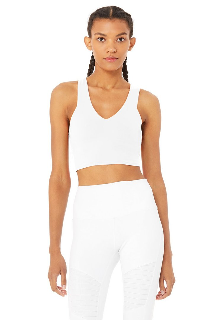 Real Bra Tank - White by Alo Yoga, available on aloyoga.com for $72 Natasha Oakley Top SIMILAR PRODUCT