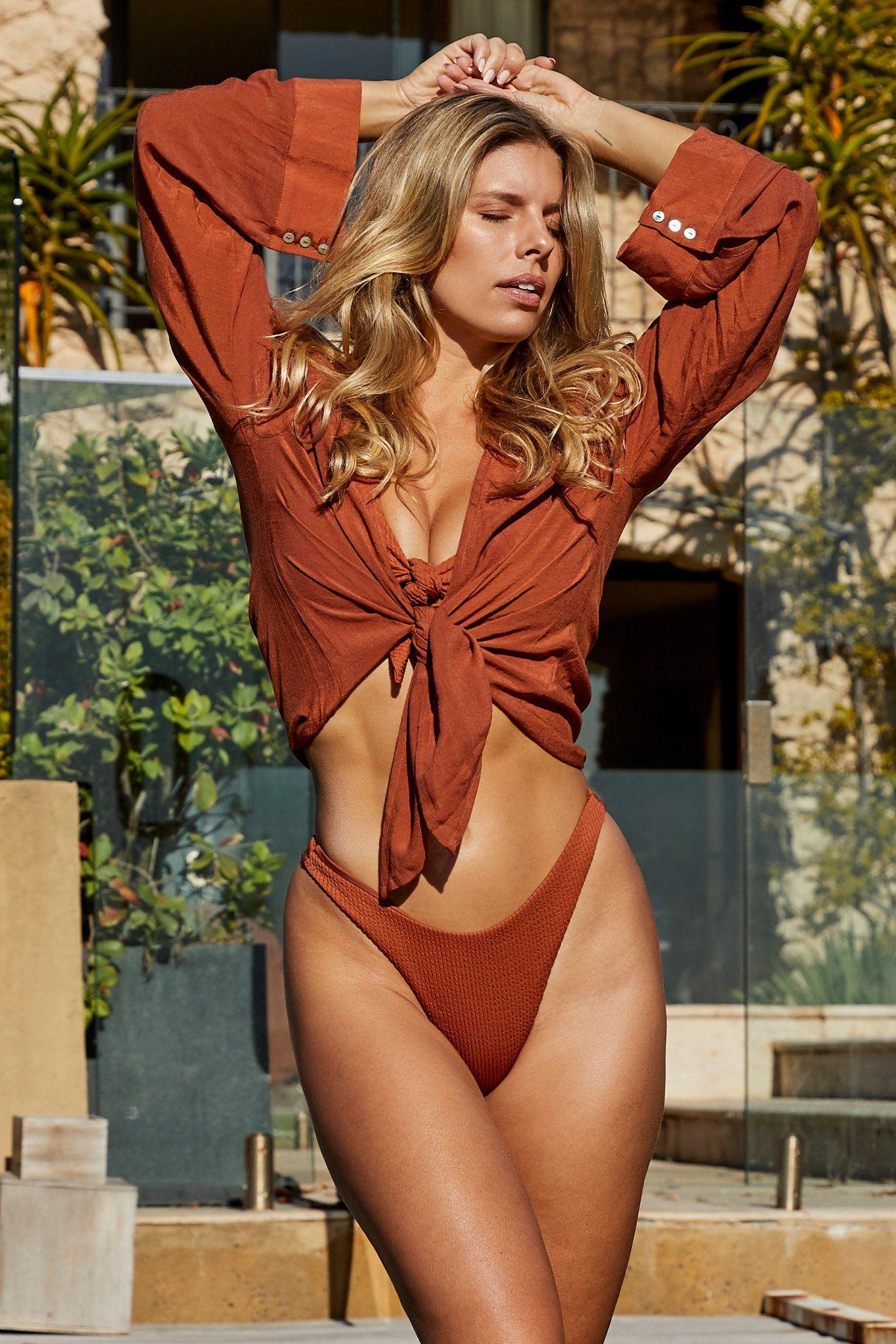 Tahiti Tie Top by Monday Swimwear, available on mondayswimwear.com for $89 Natasha Oakley Outerwear Exact Product