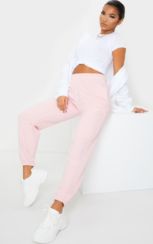 Baby Pink Casual Jogger by Pretty Little Thing, available on prettylittlething.com for $18 Negin Mirsalehi Pants SIMILAR PRODUCT