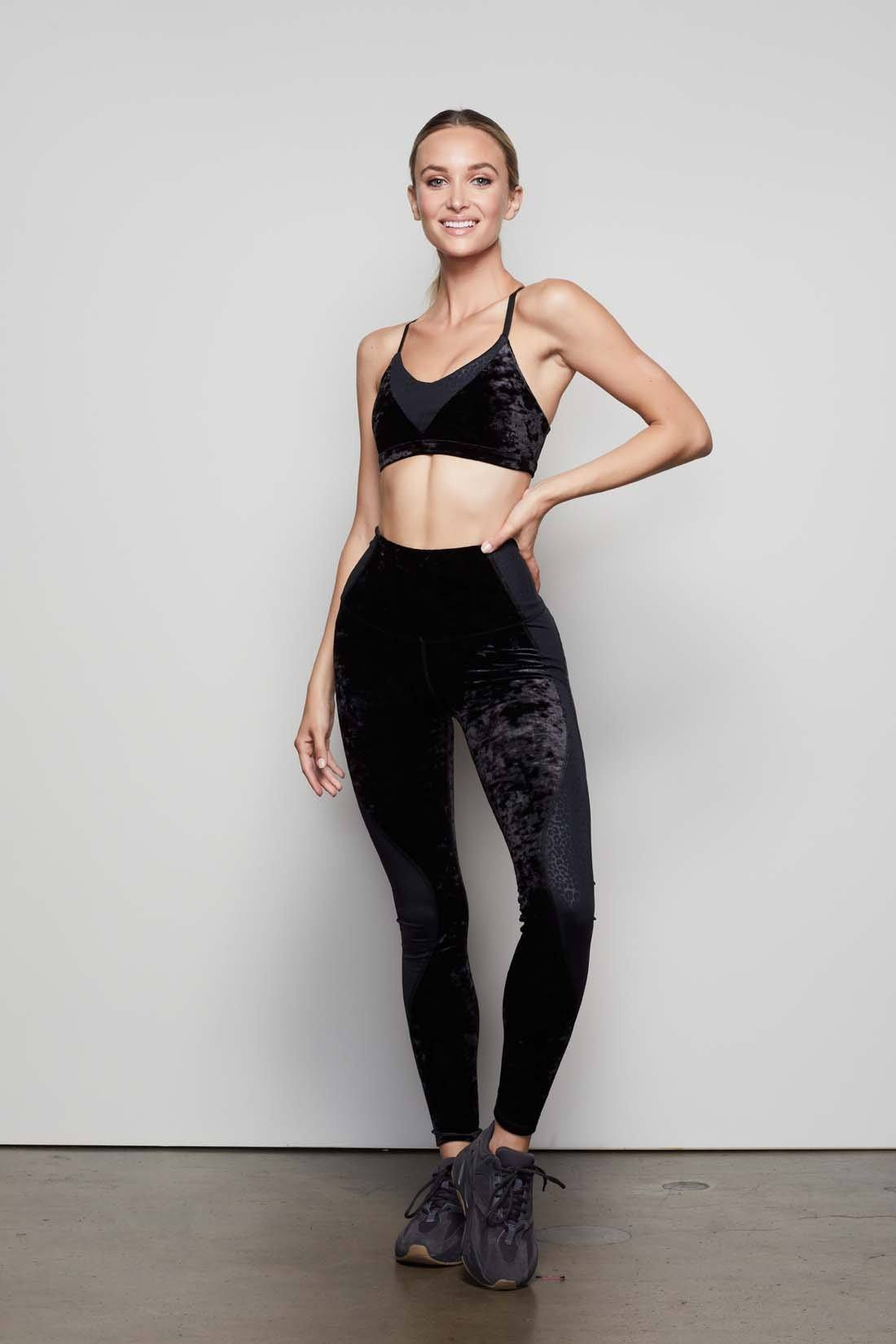 CRUSHING IT LEOPARD LEGGING   BLACK005 by Good American, available on goodamerican.com for $115 Olivia Culpo Pants SIMILAR PRODUCT