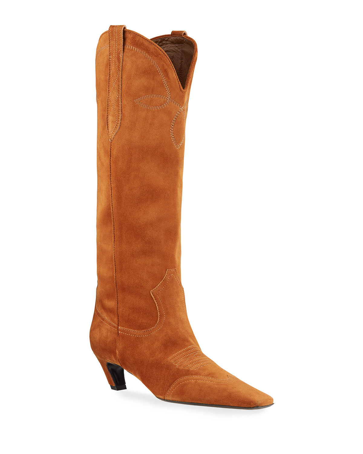 Dallas Western Suede Knee Boots by Khaite, available on neimanmarcus.com for $1380 Olivia Culpo Shoes Exact Product
