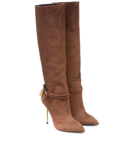 Embellished suede knee-high boots by Tom Ford, available on mytheresa.com for $2090 Olivia Culpo Shoes SIMILAR PRODUCT