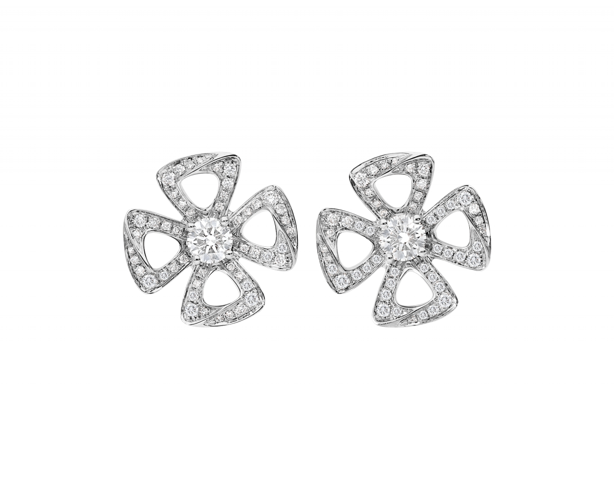 FIOREVER EARRINGS by Bvlgari, available on bulgari.com for $9750 Olivia Culpo Jewellery Exact Product
