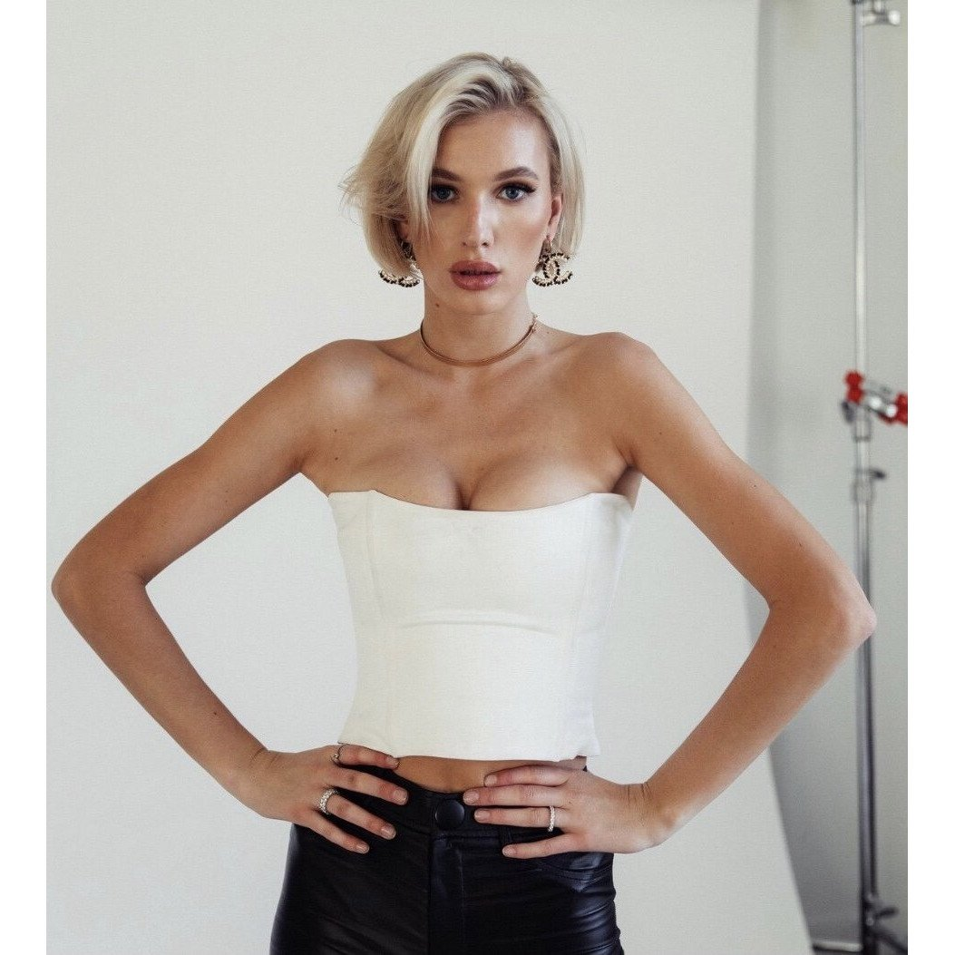 GO-TO BUSTIER - OFF WHITE by j.bazzi, available on jbazzi.com for $228 Olivia Culpo Top Exact Product