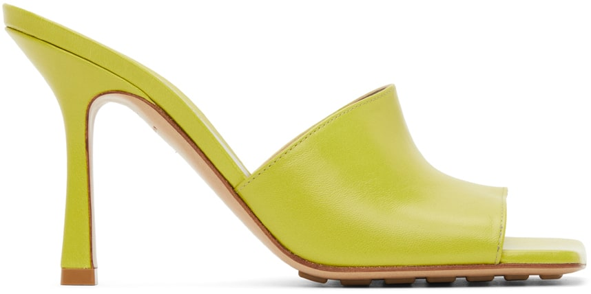 Green Stretch Heeled Sandals by BOTTEGA VENETA, available on ssense.com for $790 Olivia Culpo Shoes Exact Product