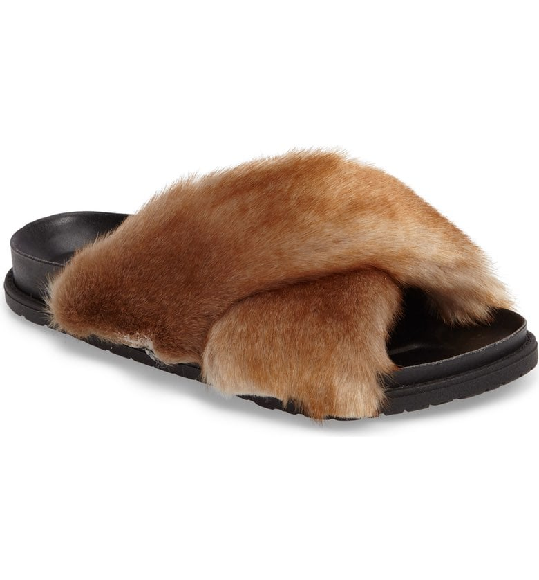 Harissa Faux Fur Slide Sandal by TopShop, available on nordstrom.com Olivia Culpo Shoes Exact Product