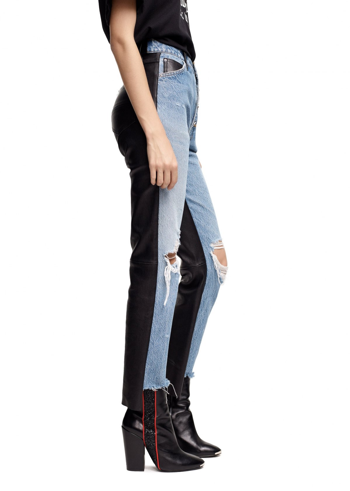 LEATHER DENIM CROP FLARE VINTAGE by Amiri, available on mikeamiri.com for $1750 Olivia Culpo Pants Exact Product