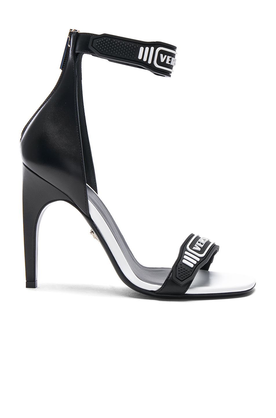 Logo Ankle Strap Leather Sandals by Versace, available on fwrd.com for $622 Olivia Culpo Shoes Exact Product
