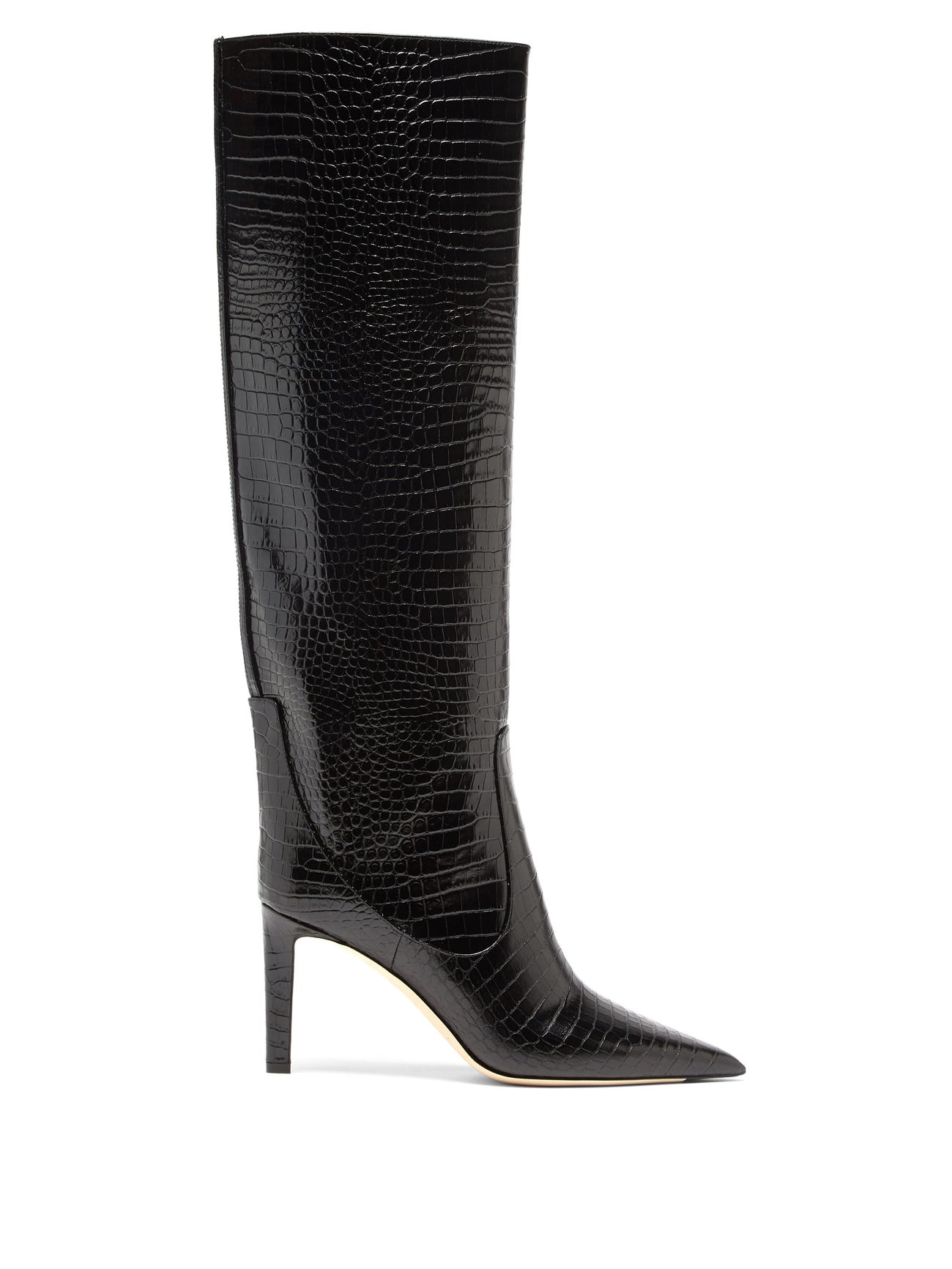 Mavis 85 point-toe crocodile-effect knee boots by Jimmy Choo, available on matchesfashion.com for $1115 Olivia Culpo Shoes Exact Product