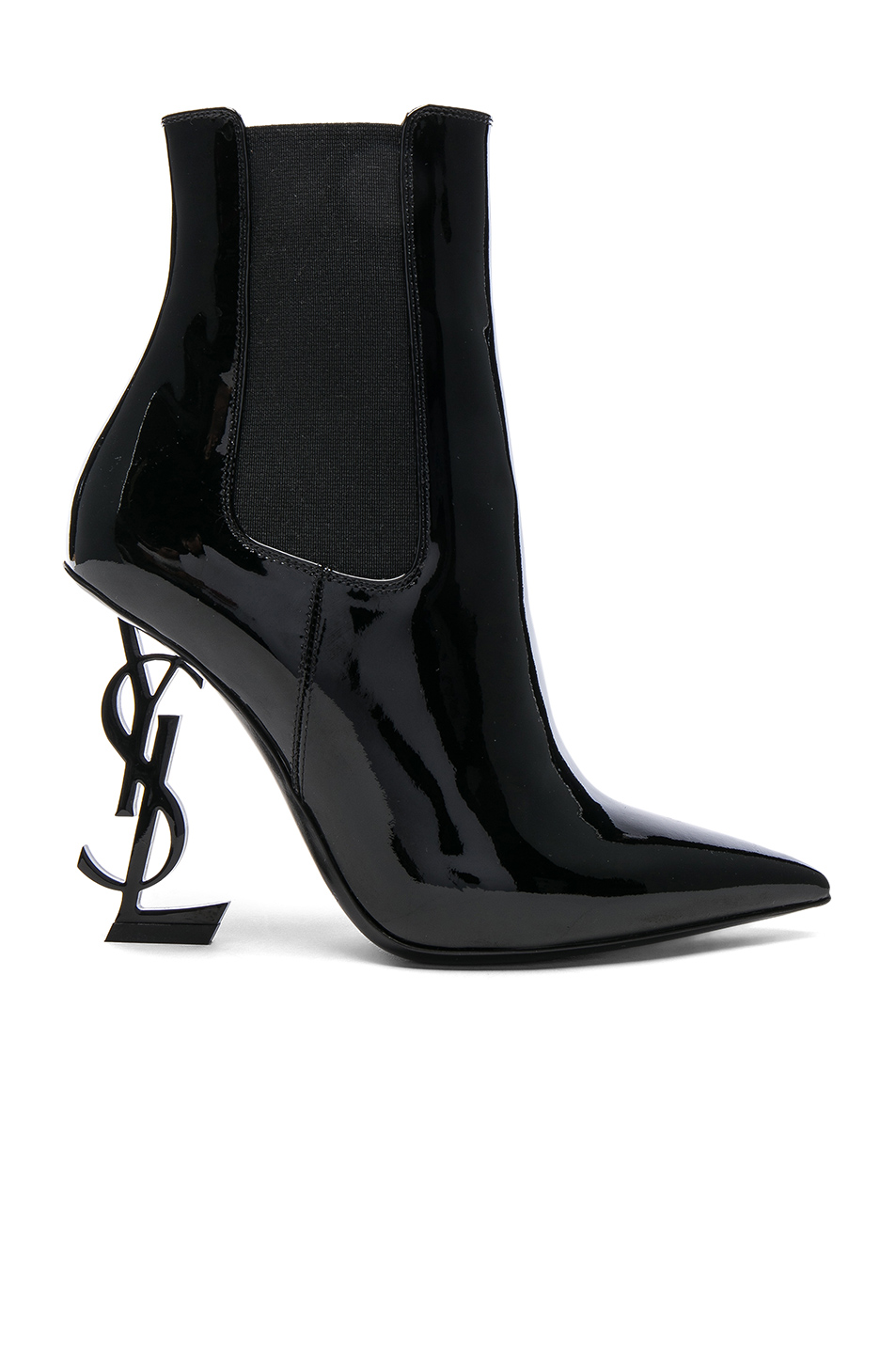 Monogrammed Patent Leather Boots by Saint Laurent, available on fwrd.com for $1695 Olivia Culpo Shoes Exact Product