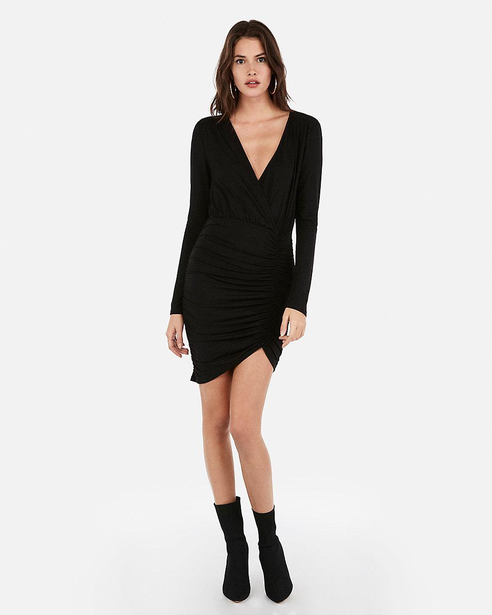 Olivia Culpo Asymmetrical Surplice Sheath Dress by Express, available on express.com for $78 Olivia Culpo Dress Exact Product