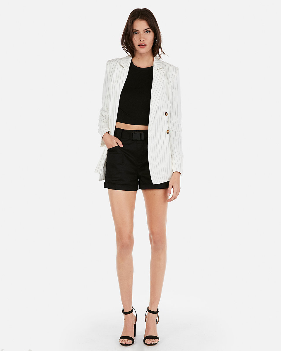 Olivia Culpo Striped Boyfriend Blazer by Express, available on express.com for $138 Olivia Culpo Outerwear Exact Product