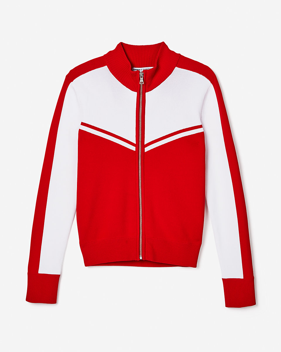 Olivia Culpo Track Jacket by Express, available on express.com for $79.9 Olivia Culpo Outerwear Exact Product