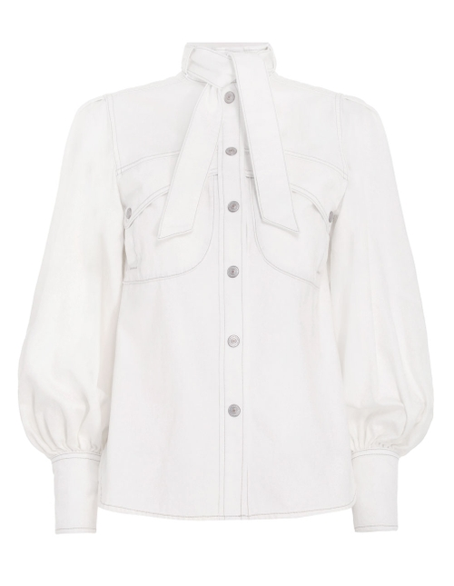 POCKET SHIRT by ZIMMERMANN, available on zimmermannwear.com for $425 Olivia Culpo Top Exact Product
