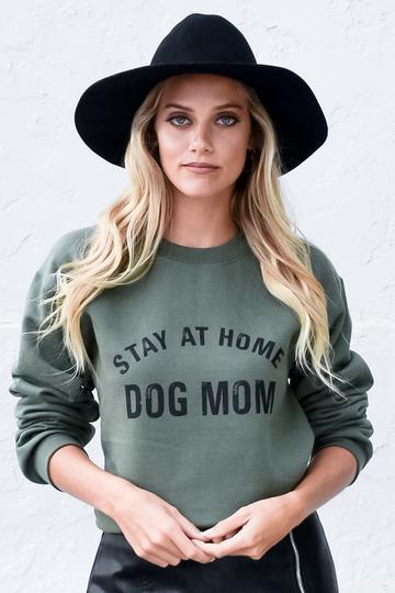 STAY AT HOME DOG MOM SWEATSHIRT by Lulusimon Studio, available on lulusimonstudio.com for $39 Olivia Culpo Top Exact Product