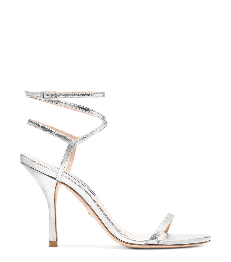 Silver Lame Nappa Merinda Sandals by Stuart Weitzman, available on stuartweitzman.com for $395 Olivia Culpo Shoes Exact Product