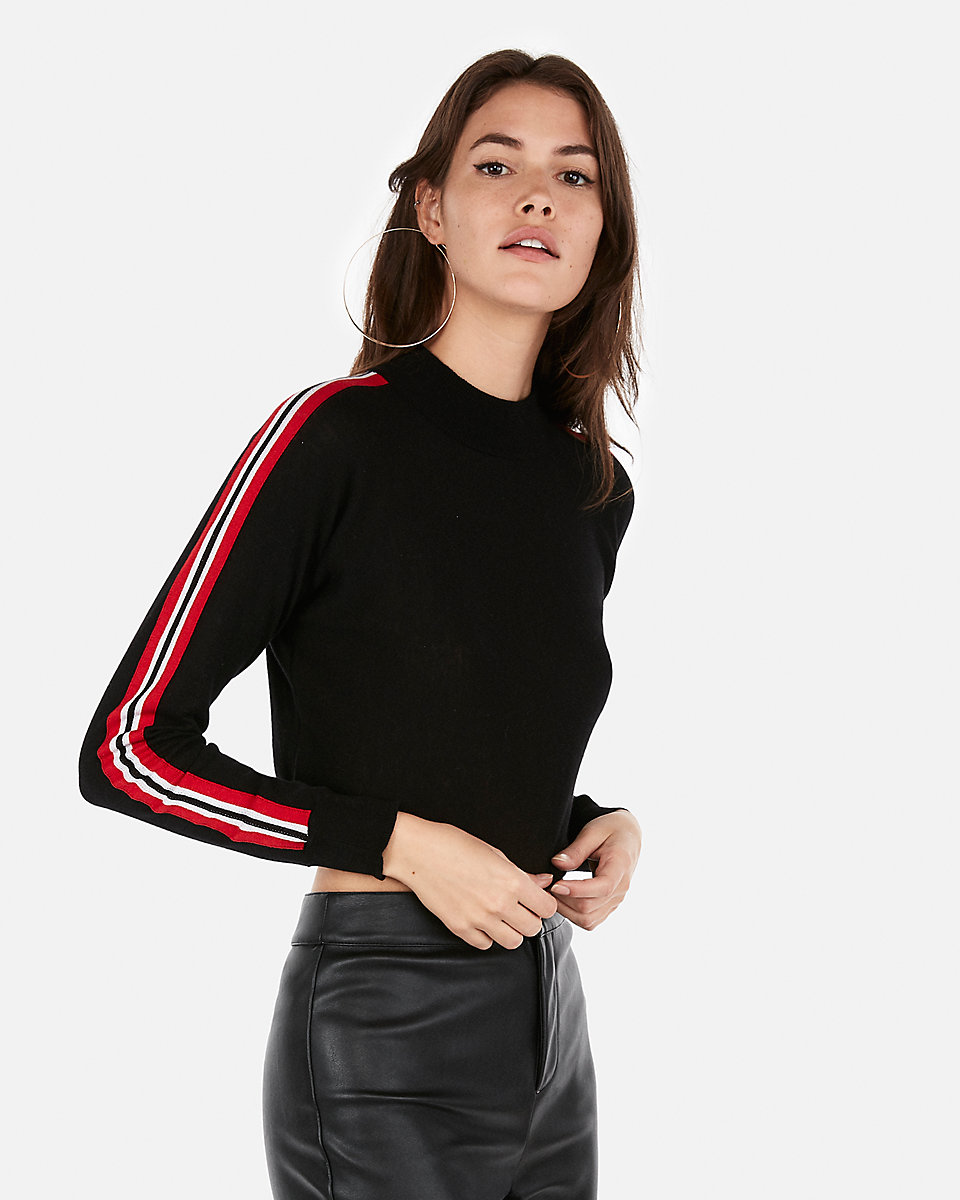 abbreviated mock neck striped sweater by Express, available on express.com for $50 Olivia Culpo Top Exact Product