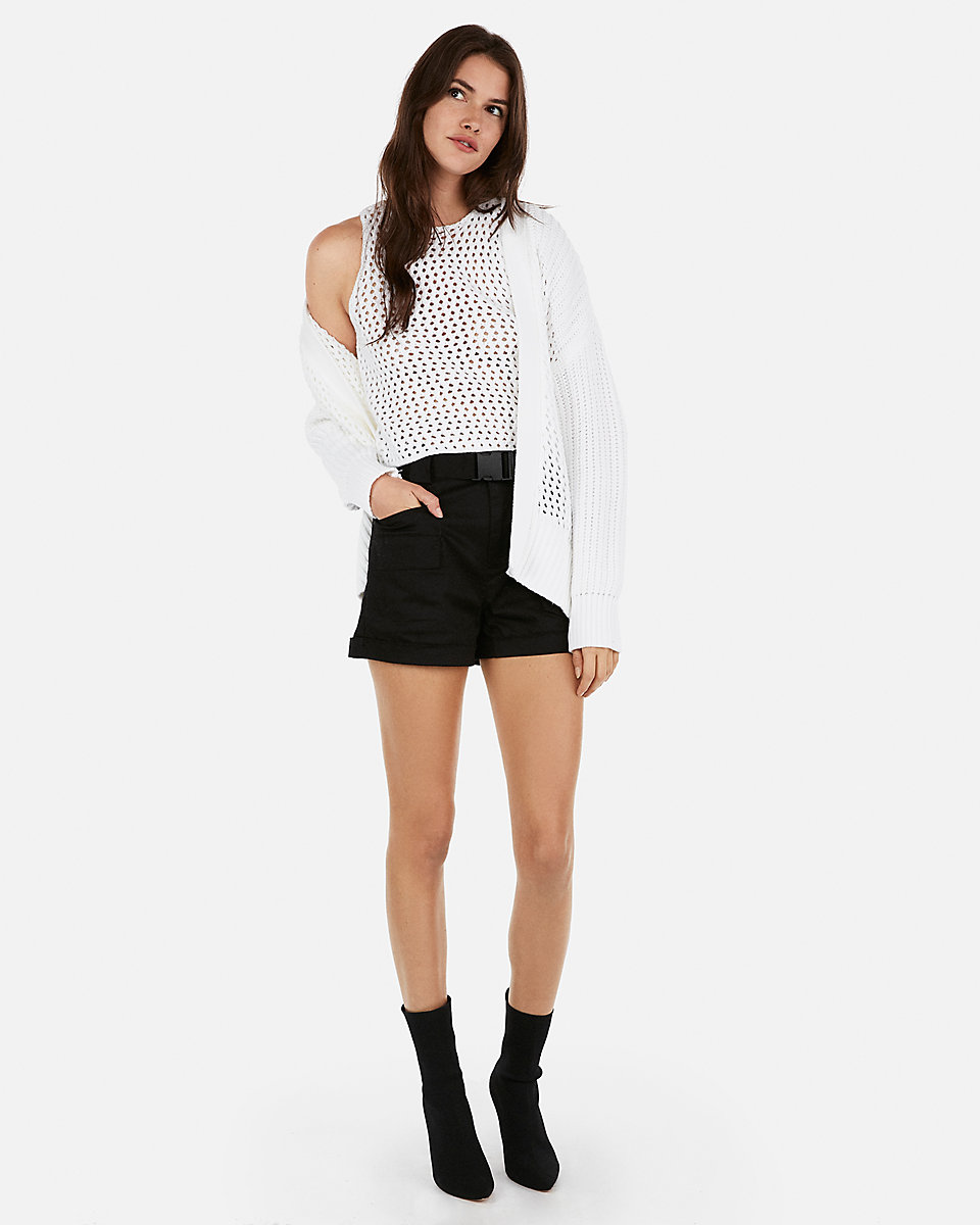 crochet cover-up by Express, available on express.com for $80 Olivia Culpo Shorts Exact Product