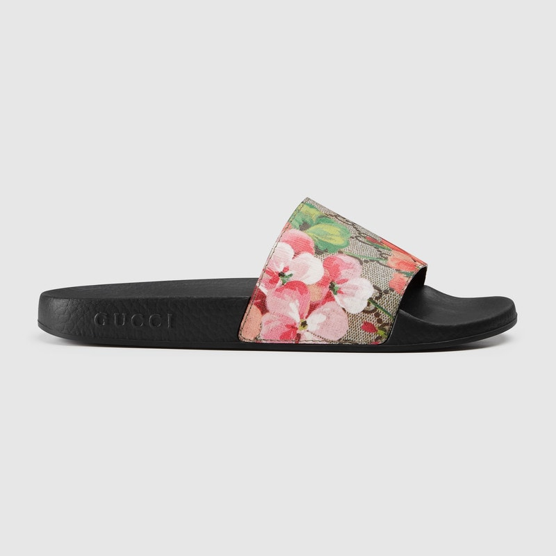 GG Blooms Supreme floral slide sandal by Gucci, available on gucci.com for $320 Priyanka Chopra Shoes Exact Product