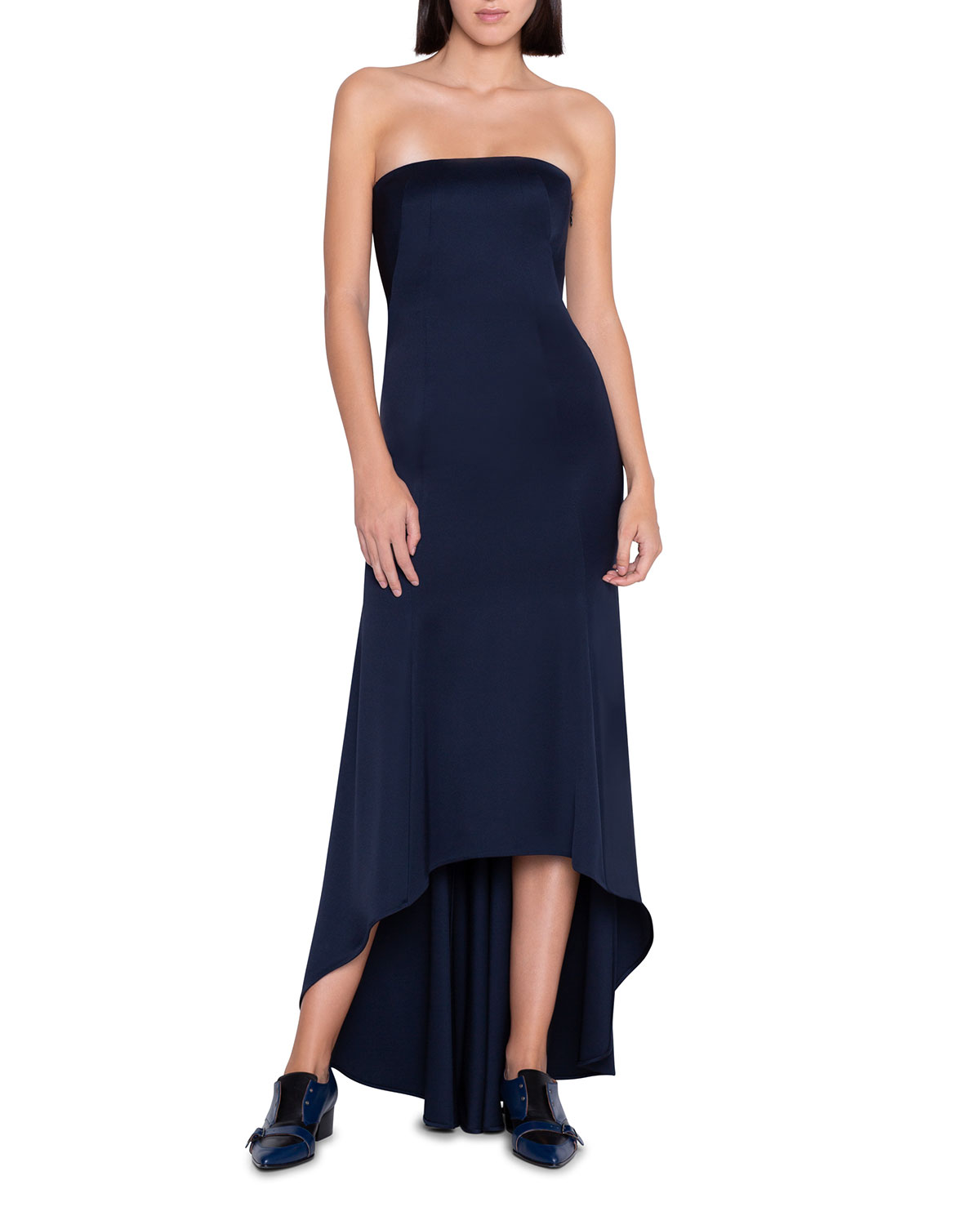 Stretch Silk Strapless High-Low Dress by Akris, available on neimanmarcus.com for $1 Priyanka Chopra Dress Exact Product