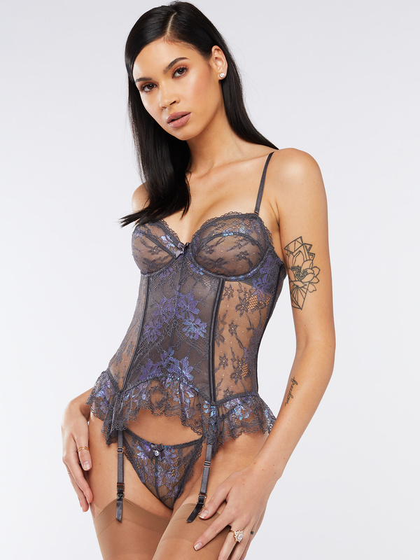 Living in the Clouds Iridescent Lace Corset by Savage-X-Fenty-by-Rihanna, available on savagex.com for $89.95 Rihanna Dress Exact Product