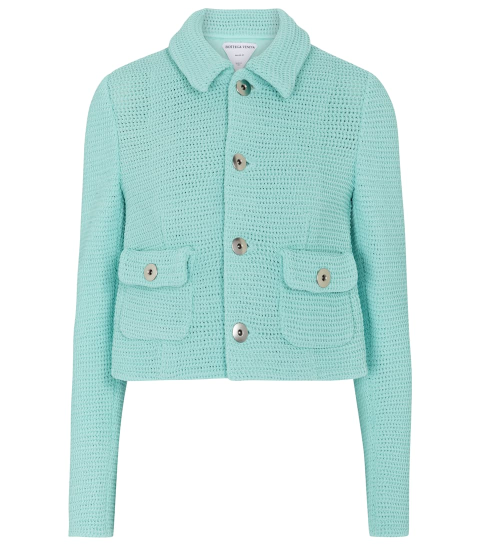 Cotton-blend mesh knit jacket by Bottega Veneta, available on mytheresa.com for $2700 Rosie Huntington Whiteley Outerwear Exact Product