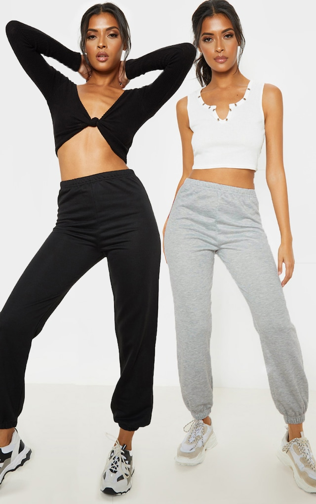 Black & Grey Basic Cuffed Hem Joggers 2 Pack by Pretty Little Thing, available on prettylittlething.com for $18 Selena Gomez Pants SIMILAR PRODUCT