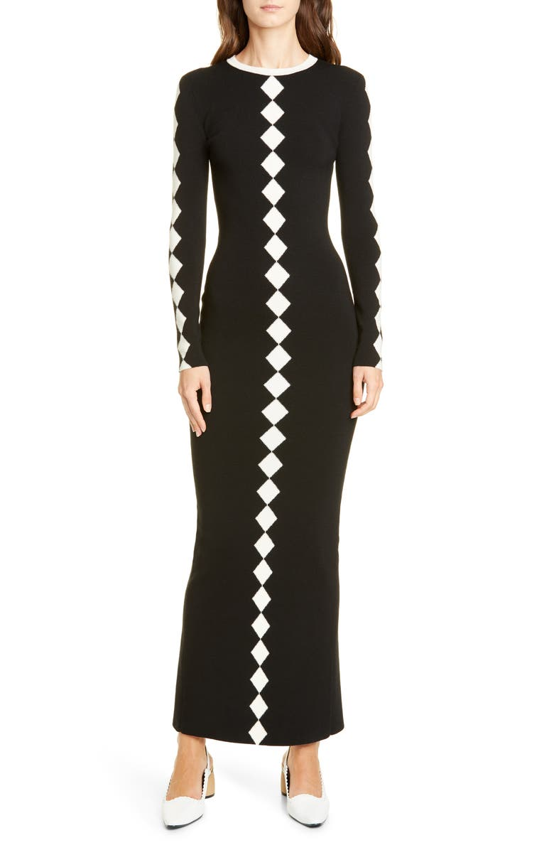 Diamond Jacquard Long Sleeve Wool Maxi Sweater Dress by Victor Glemaud, available on nordstrom.com Selena Gomez Dress Exact Product