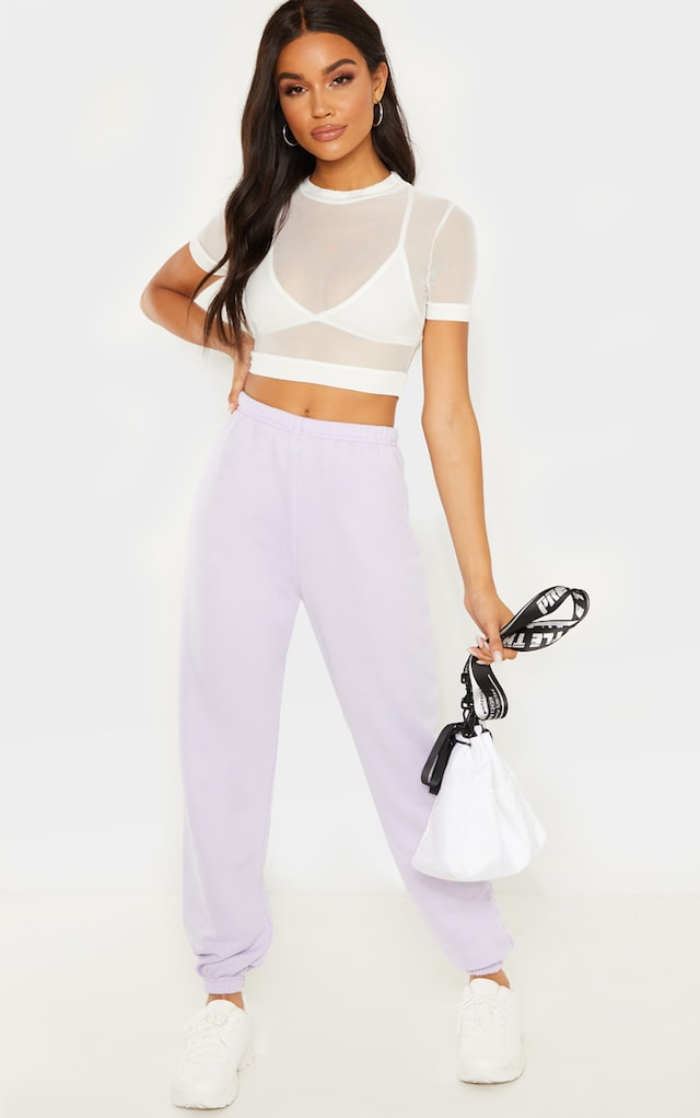Lilac Basic Cuffed Hem Jogger by Pretty Little Thing, available on prettylittlething.com for £12 Selena Gomez Pants SIMILAR PRODUCT