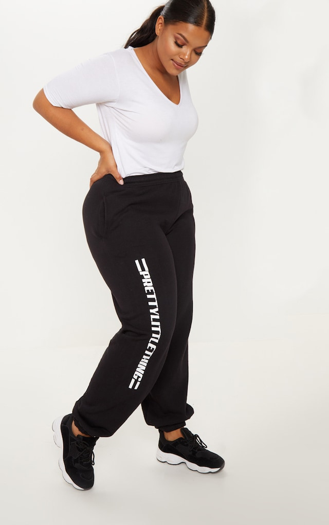 PRETTYLITTLETHING Plus Black Casual joggers by Pretty Little Thing, available on prettylittlething.com for $17 Selena Gomez Pants SIMILAR PRODUCT