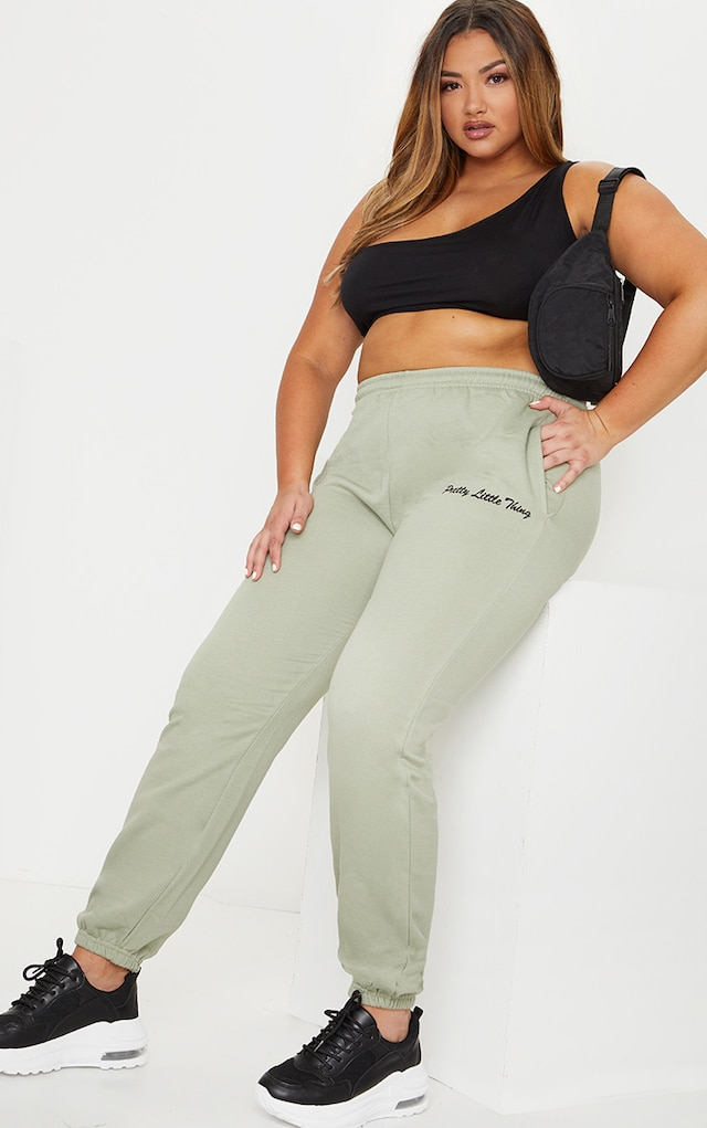 PRETTYLITTLETHING Plus Sage Green Embroidered... by Pretty Little Thing, available on prettylittlething.com for £20 Selena Gomez Pants SIMILAR PRODUCT
