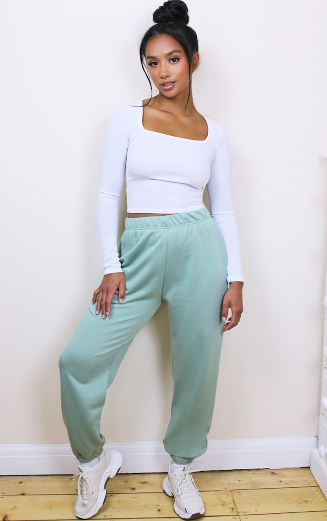 Petite Basic Mint Cuffed Hem Joggers by Pretty Little Thing, available on prettylittlething.com for £12 Selena Gomez Pants SIMILAR PRODUCT