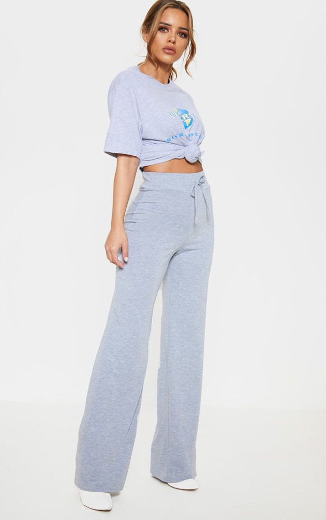 Petite Grey Drawstring Jersey Wide Leg Jogger by Pretty Little Thing, available on prettylittlething.com for $13 Selena Gomez Pants SIMILAR PRODUCT