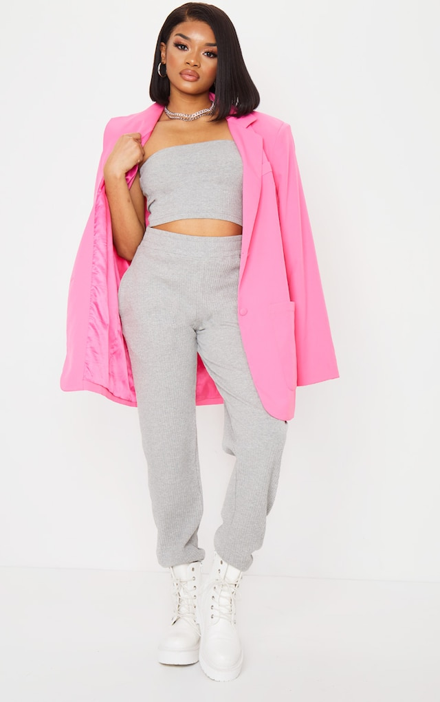 Petite Grey Ribbed Oversized Joggers by Pretty Little Thing, available on prettylittlething.com for $13 Selena Gomez Pants SIMILAR PRODUCT