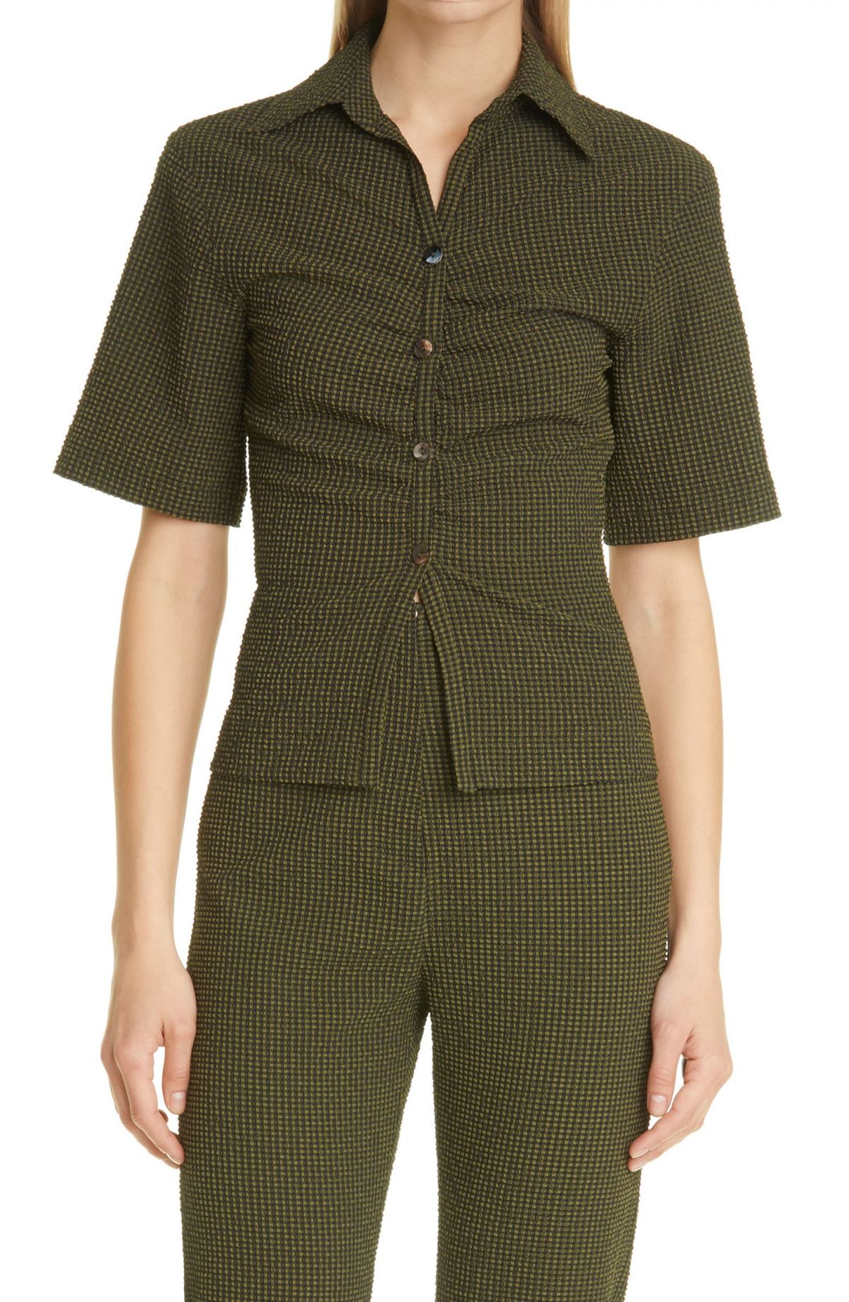 Saff Puckered Check Button-Up Shirt by NANUSHKA, available on nordstrom.ca Selena Gomez Top Exact Product
