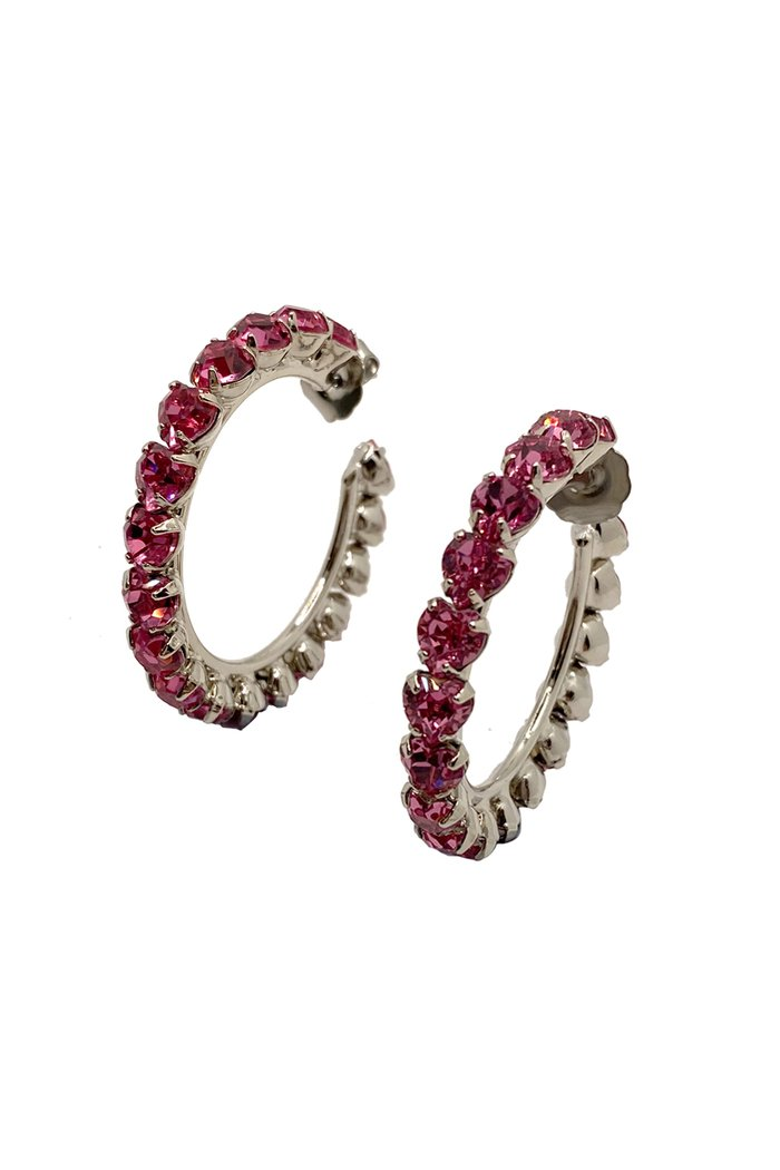 Small Pink Heart Crystal Hoop Earrings by HVN, available on hvnlabel.com for $115 Selena Gomez Jewellery Exact Product