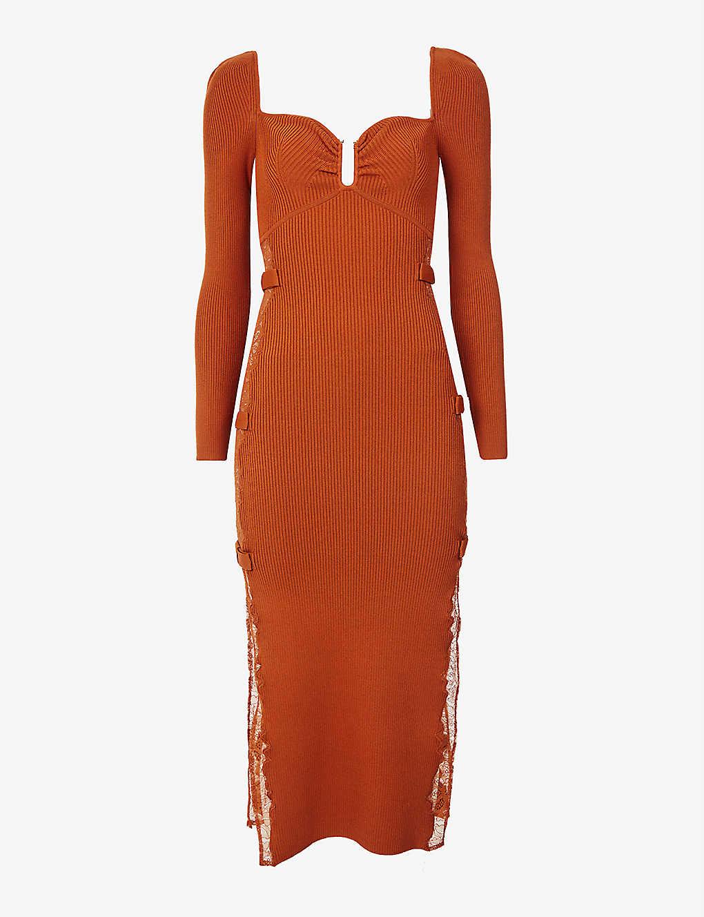 Sweetheart-neckline stretch-knit midi dress by Self Portrait, available on selfridges.com for EUR350 Selena Gomez Dress Exact Product