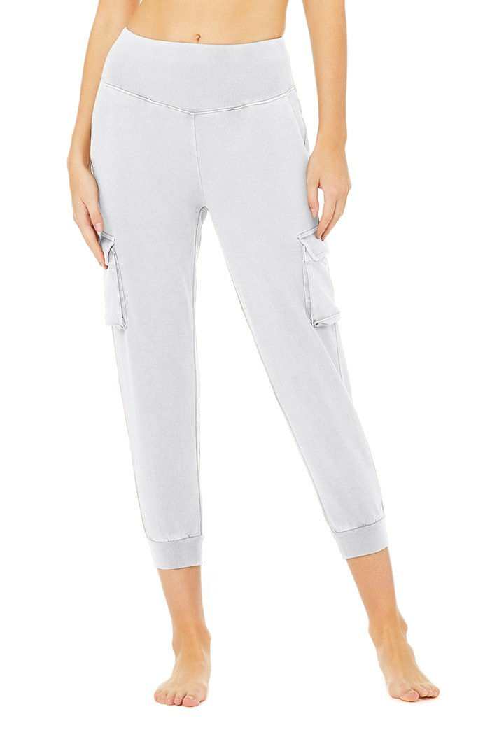 Washed 7/8 High-Waist Cargo Sweatpant - Chalk Wash by Alo Yoga, available on aloyoga.com for $108 Winnie Harlow Pants SIMILAR PRODUCT