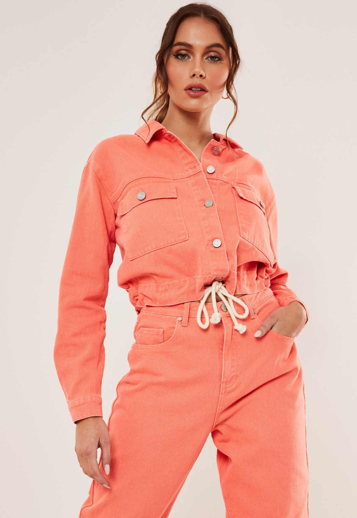 orange co ord rope waist detail cropped denim jacket by Misguided, available on missguided.eu for EUR28 Yovanna Ventura Outerwear Exact Product