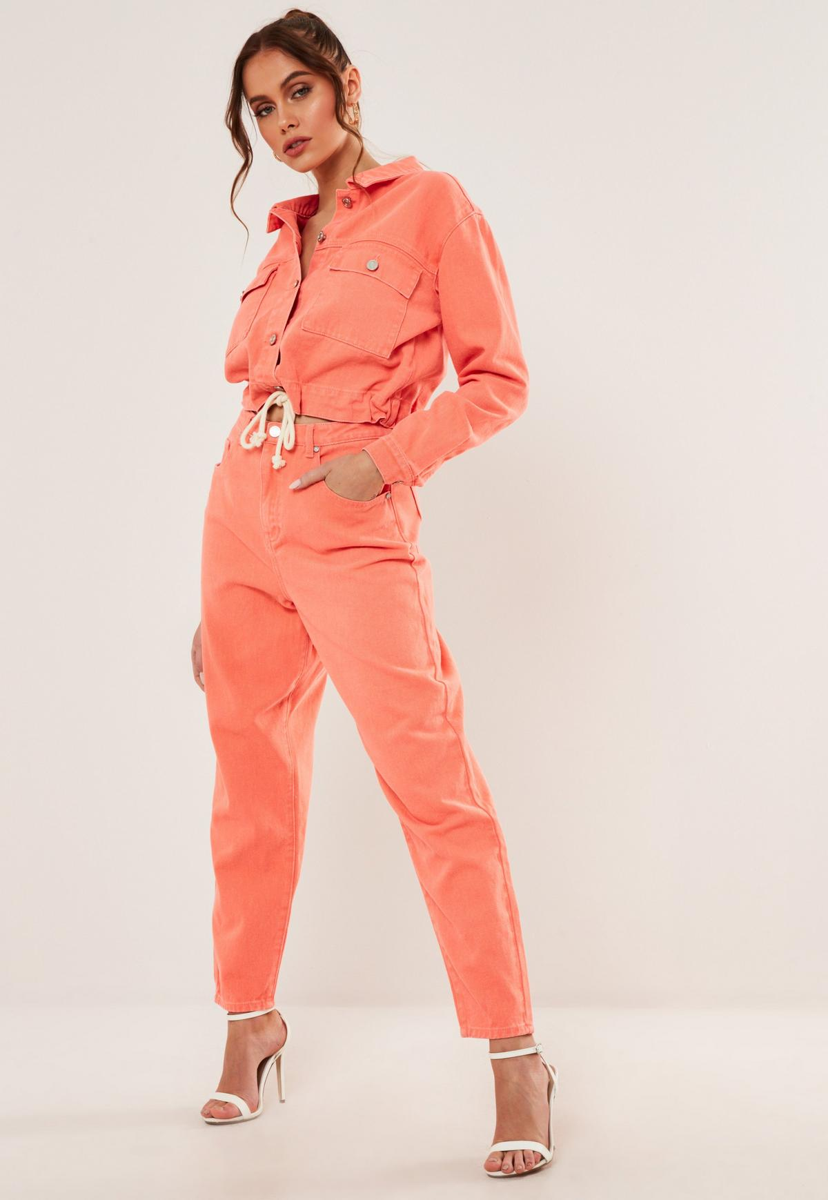 orange co ord super wide leg highwaisted tapered jeans by Misguided, available on missguided.eu for EUR22 Yovanna Ventura Pants Exact Product